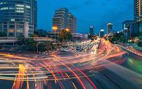城市交通车流夜景图片
