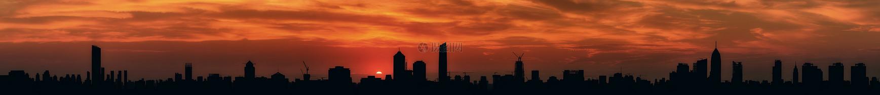 城市风光日落剪影全景图片