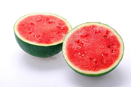 红瓤大西瓜对半切白底图图片