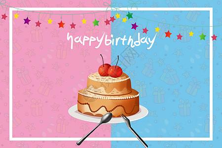 卡通生日蛋糕贺卡祝福高清图片