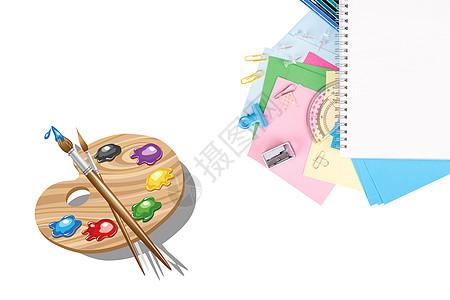 课桌上的绘画文具图片