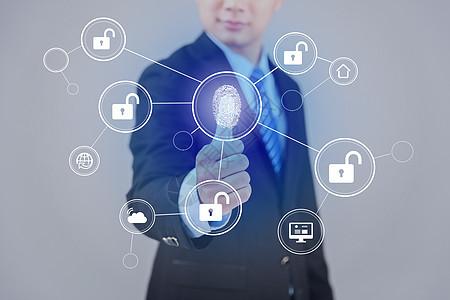 指纹解锁科技背景图片