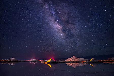 茶卡盐湖的璀璨星空图片