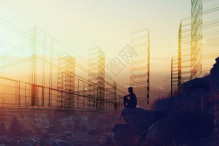 日落城市线条图片