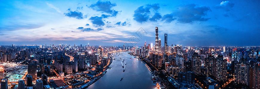 航拍上海城市夜景背景