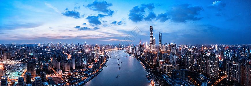 航拍上海城市夜景图片