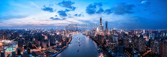 航拍上海城市夜景picture