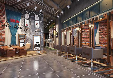 工业风理发店室内设计效果图图片
