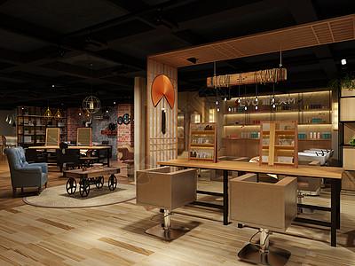 中式风美发展厅室内设计效果图图片