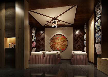中式风美容间室内设计效果图图片