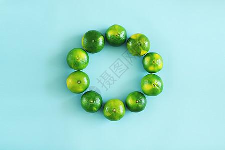 一圈绿皮桔子图片