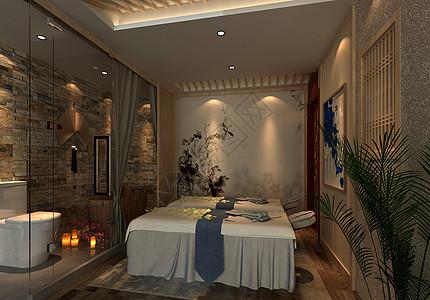 中式风美容院室内设计效果图图片