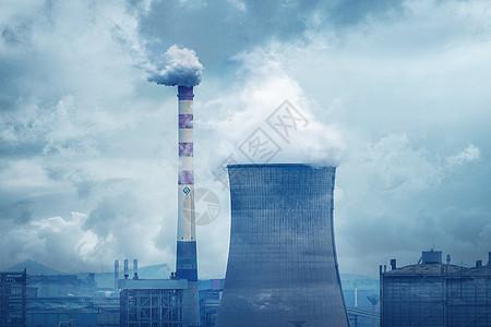 电厂的烟囱排放二氧化碳污染图片