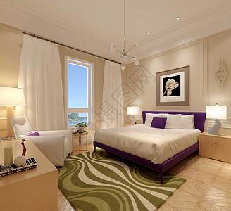 美式风卧室室内设计效果图图片