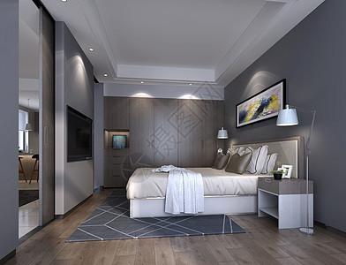 现代简约风卧室室内设计效果图图片