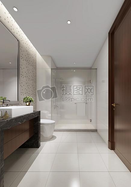 现代简约风洗手间室内设计效果图图片