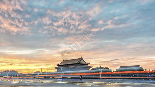 北京天安门的夕阳图片