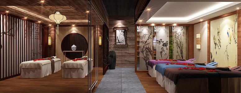 中式美容院室内设计效果图图片