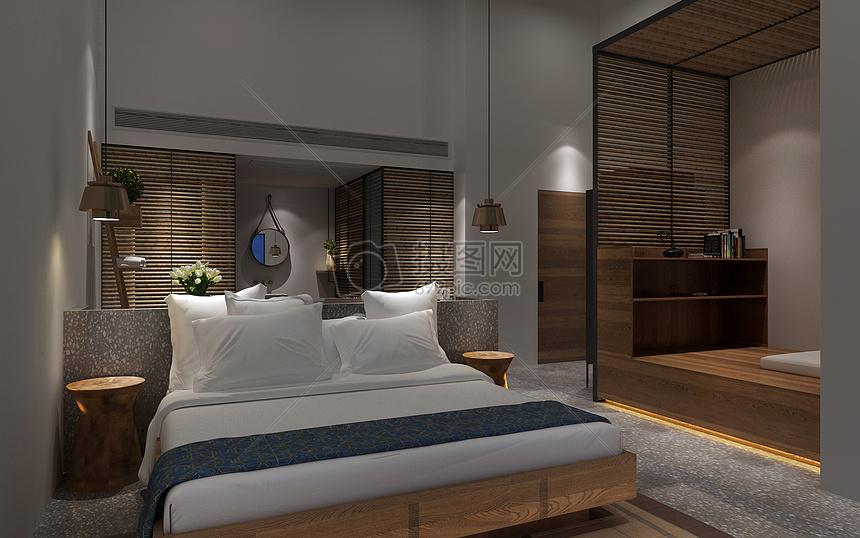 卧室室内效果图室内设计床家装家居住宅内部日式简约风民宿室内设计