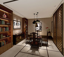 中式传统书房室内设计效果图图片