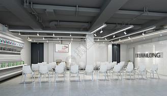 黑白简约风培训教室室内设计效果图图片