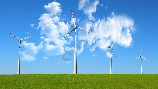 蓝天下的风车图片