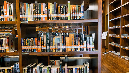 在书架上满是英语书的图书馆内阅读习图片
