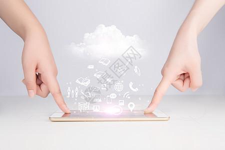 平板电脑和云端数据图片