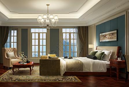 欧式复古风卧室室内设计效果图图片