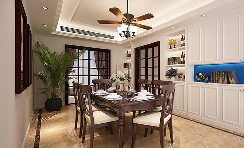 复古风餐厅室内设计效果图图片