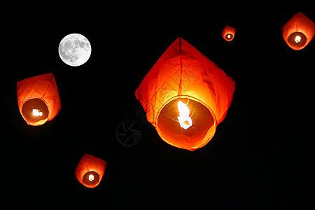 月圆下的孔明灯图片