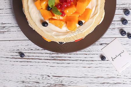 蓝莓 芒果 水果蛋糕图片