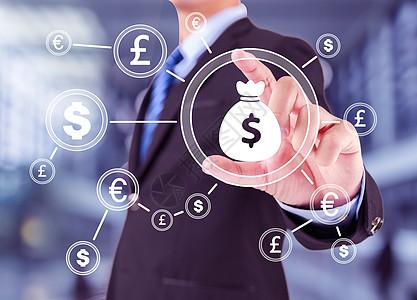 商人与美元货币推钮图片