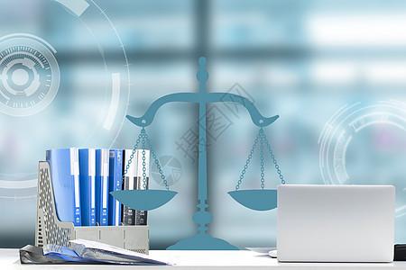 天平秤蓝色商务背景图片