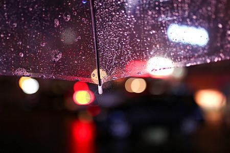 下雨天雨伞雨珠素材图片
