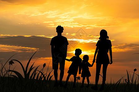 夕阳下的一家人图片