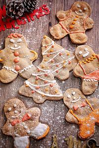 圣诞姜饼人背景图片