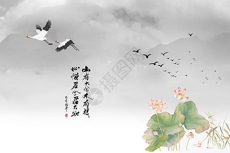 中国风鹤与荷花水墨画图片