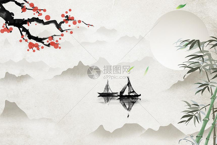 中国风江面梅花与船景色背景