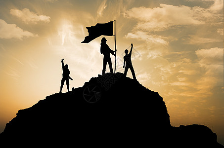 抗战胜利红旗飘扬剪影背景图片
