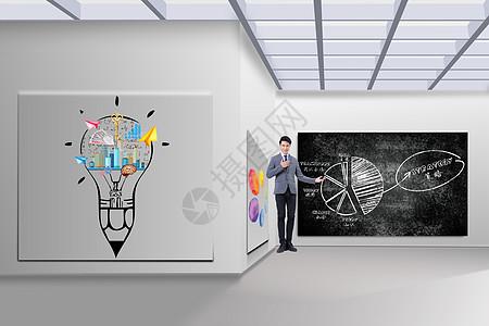 展厅里的商业图标彩绘灯知识讲解图片