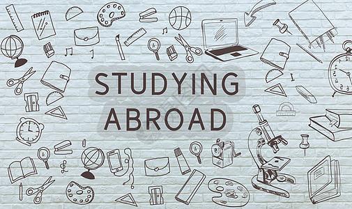 出国留学背景墙图标学习元素图片