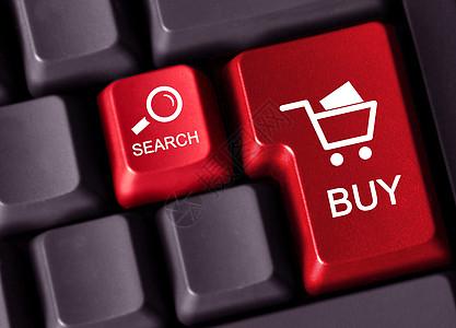 带有符号的计算机键盘正在显示搜索和购买图片