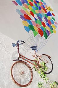 创意单车彩绘气球图片