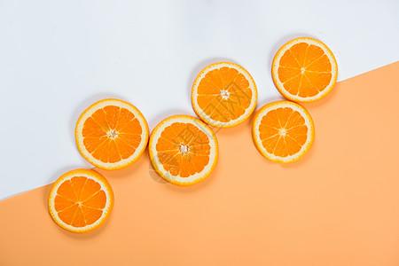 橙子拼接背景撞色图片