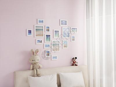 粉红色家居相框组合图片