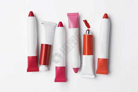 红色唇膏组合图片