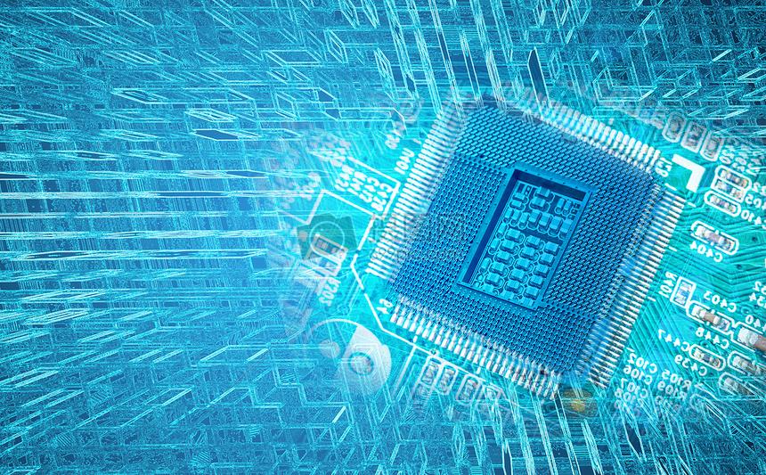 抽象的技术背景在电路板上的芯片