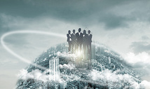 站在地球上的商务人图片