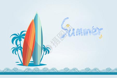 夏天冲浪背景图片